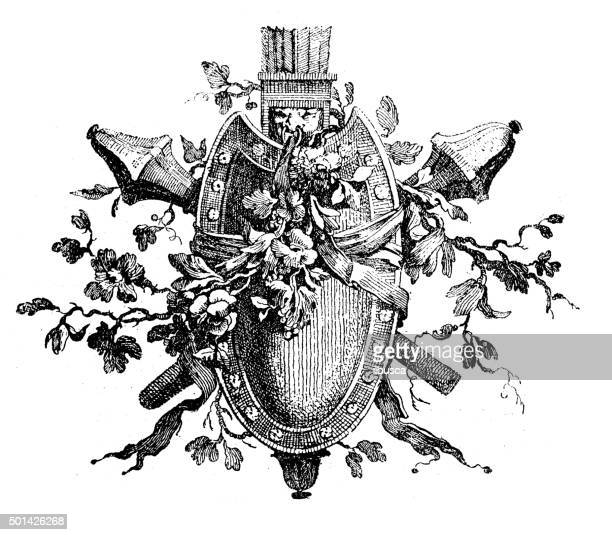 antique illustration of heraldic shield and rods with flowers - scepter stock illustrations