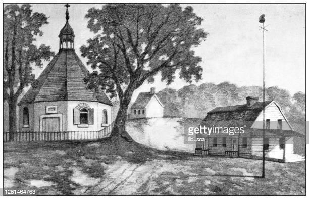 中州の歴史的な町のアンティークイラスト:ブルックリン、ブッシュウィックのタウンハウスと教会、1800 - 1800~1809年点のイラスト素材/クリップアート素材/マンガ素材/アイコン素材