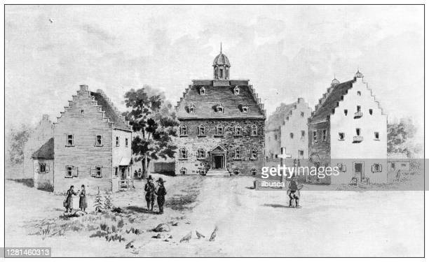 antique illustration of historic towns of the middle states: new york, the stadt huys - stadt stock illustrations