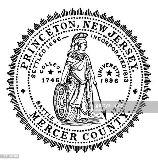中部の歴史的な町のアンティークイラスト:プリンストン、タウンシール - ニュージャージー州 プリンストン点のイラスト素材/クリップアート素材/マンガ素材/アイコン素材