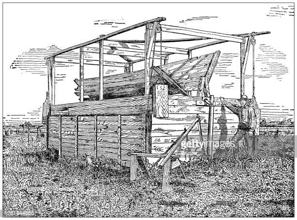 """illustrazioni stock, clip art, cartoni animati e icone di tendenza di antique illustration of homemade jumbo windmill - """"ilbusca"""""""
