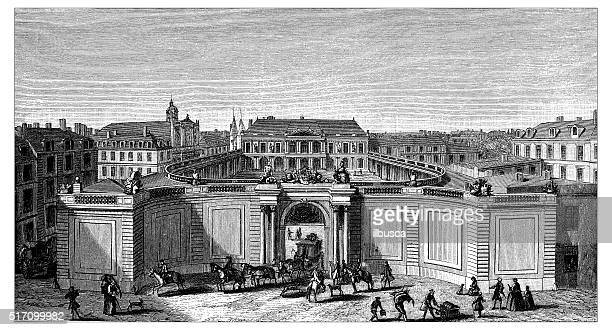 antique illustration of hotel de rohan soubise - nice france stock illustrations, clip art, cartoons, & icons