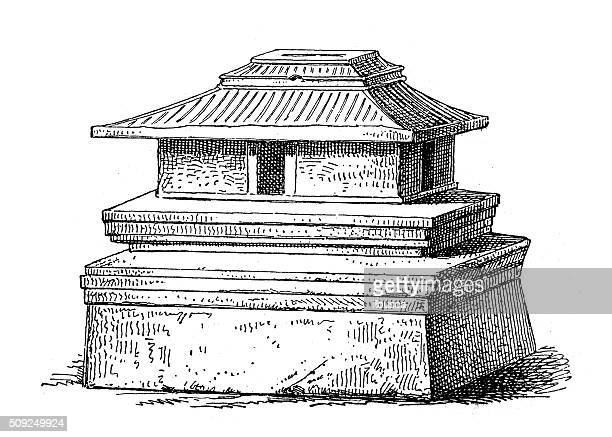 antique illustration of house-shaped urn from chiusi etruscan cemetery - etruscan stock illustrations
