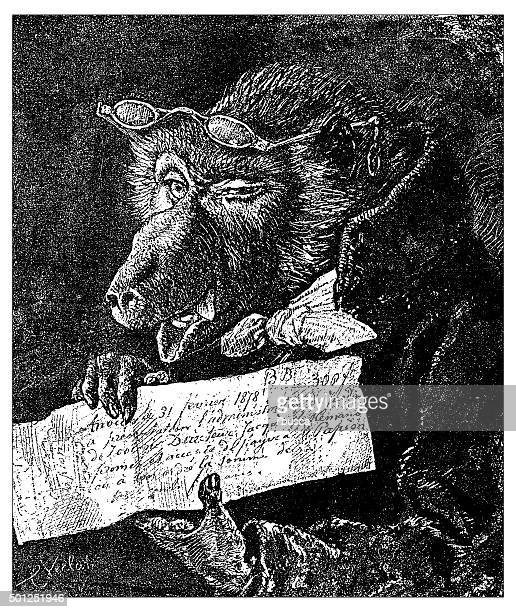 Antique illustration of humanized beast holding a paper