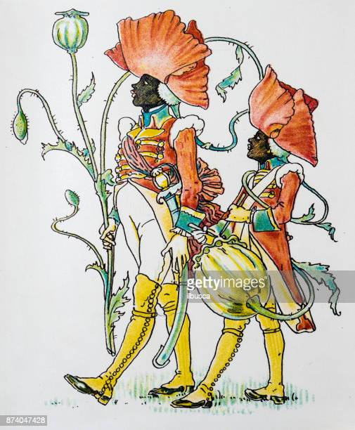 Antique illustration of humanized flowers and plants: Poppy