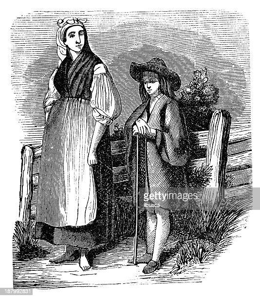 Antique illustration of Hungarian people