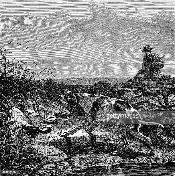 Antique illustration of hunting scene