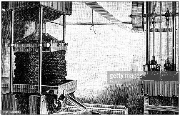 """illustrazioni stock, clip art, cartoni animati e icone di tendenza di antique illustration of hydraulic olive press - """"ilbusca"""""""