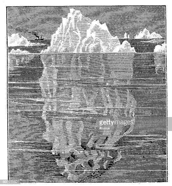 antique illustration of iceberg - iceberg ice formation stock illustrations