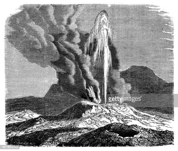 Antique illustration of Iceland geyser