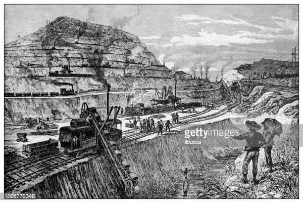 antike illustration wichtiger menschen der vergangenheit: kanalschneiden in panama - meerkanal stock-grafiken, -clipart, -cartoons und -symbole