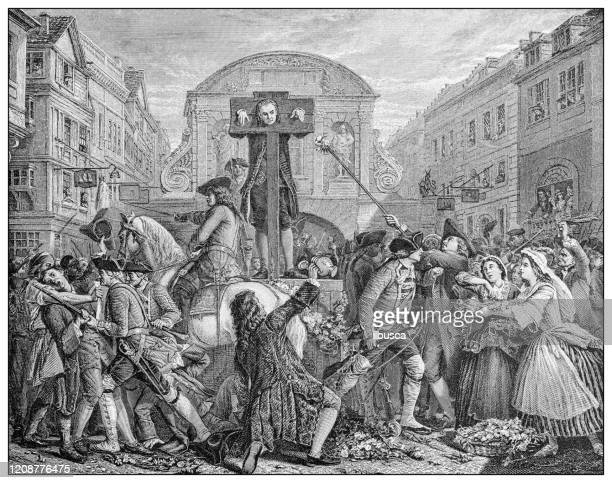 antique illustration of important people of the past: daniel defoe in the pillory - pillory stock illustrations