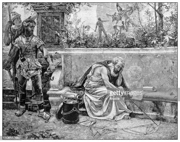 antique illustration of important people of the past: death of archimedes - archimedes stock illustrations