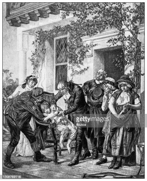 stockillustraties, clipart, cartoons en iconen met antieke illustratie van belangrijke mensen van het verleden: dr edward jenner eerste vaccinatie - geschiedenis