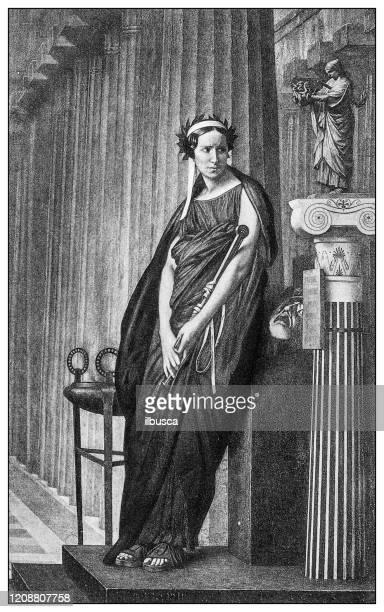 過去の重要な人々のアンティークイラスト:ギリシャ悲劇のミューズとしてのエリザベート・レイチェル・フェリックス - 悲劇の面点のイラスト素材/クリップアート素材/マンガ素材/アイコン素材