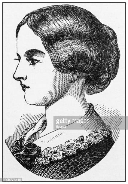 antique illustration of important people of the past: florence nightingale - florence nightingale stock illustrations