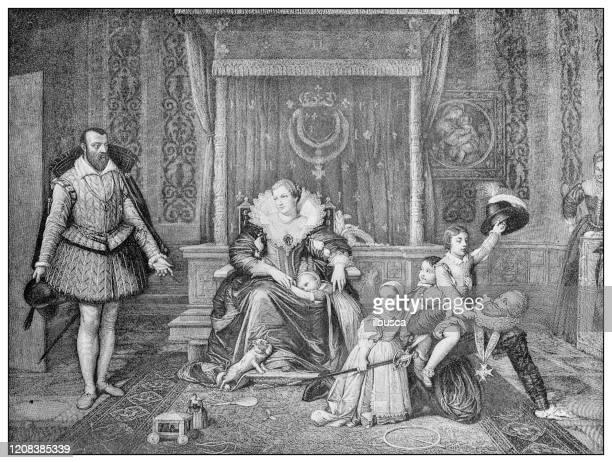 antique illustration of important people of the past: henri iv of france at home - henri iv of france stock illustrations
