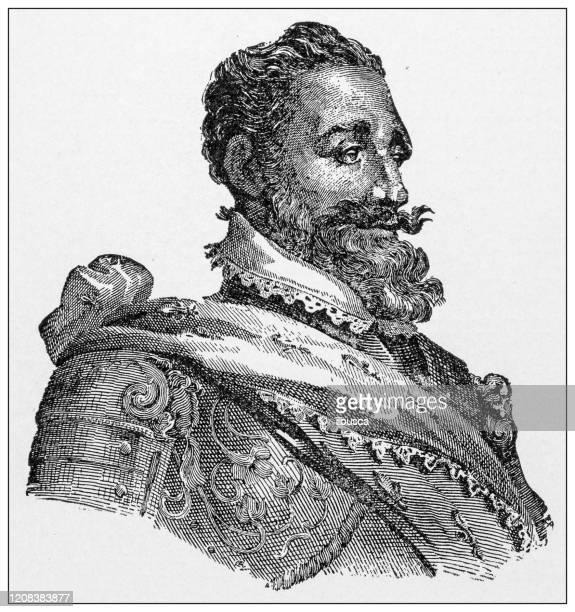 antique illustration of important people of the past: henri iv of france - henri iv of france stock illustrations