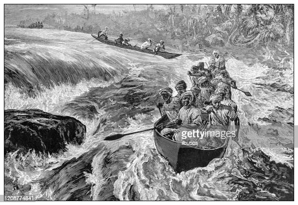 antique illustration of important people of the past: henry m stanley shooting the rapids of the congo river - rapid stock illustrations