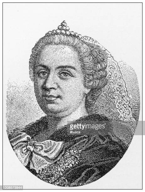 antique illustration of important people of the past: maria theresa, archduchess of austria - grand duchess stock illustrations