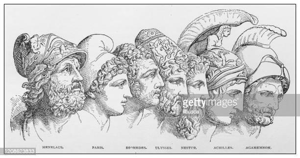 illustrations, cliparts, dessins animés et icônes de illustration antique de personnes importantes du passé : ménélas, paris, diomedes, ulysse, nestor, achille, agamemnon - ulysse