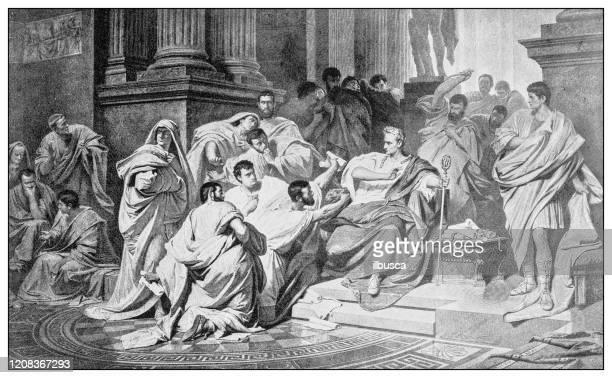 antike illustration wichtiger menschen der vergangenheit: die iden des marsches - senat stock-grafiken, -clipart, -cartoons und -symbole