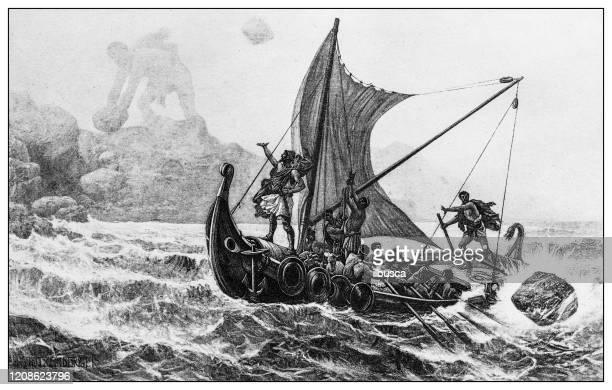 illustrations, cliparts, dessins animés et icônes de illustration antique des personnes importantes du passé : ulysse défiant les cyclopes - cyclope