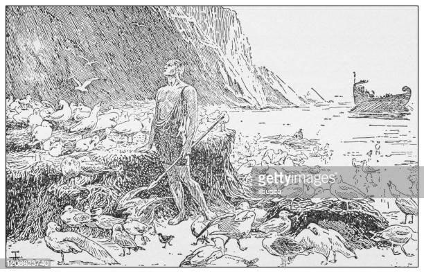 illustrations, cliparts, dessins animés et icônes de illustration antique des personnes importantes du passé : ulysse - ulysse