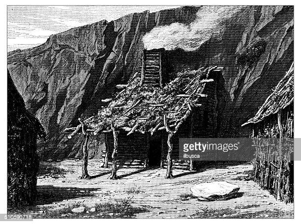 Antique illustration of Indo-Aryan primitive dwelling