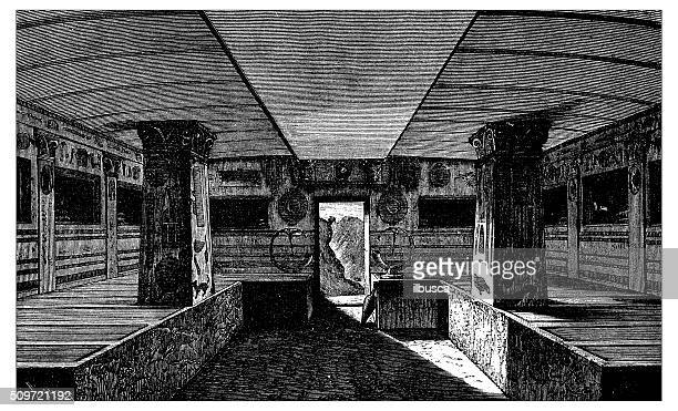 antique illustration of interior of etruscan monumental tomb - etruscan stock illustrations
