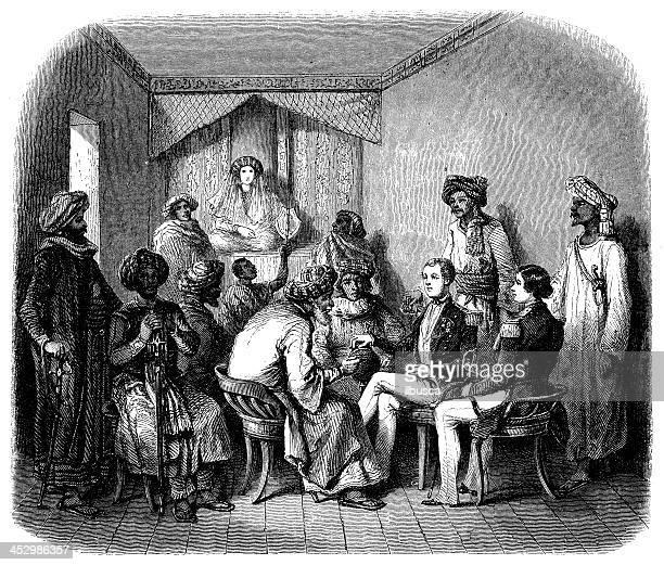 Antique illustration of international meeting