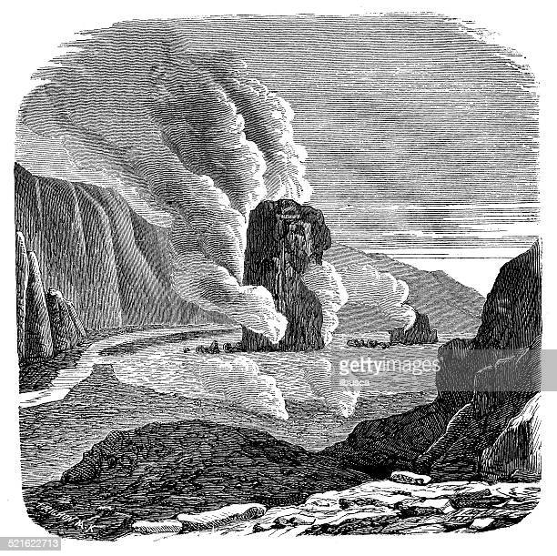 Antique illustration of Krafla caldera