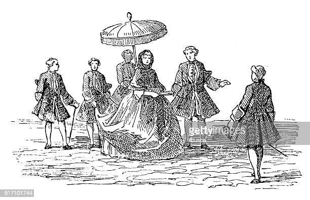 antique illustration of lady promenade - promenade stock illustrations, clip art, cartoons, & icons