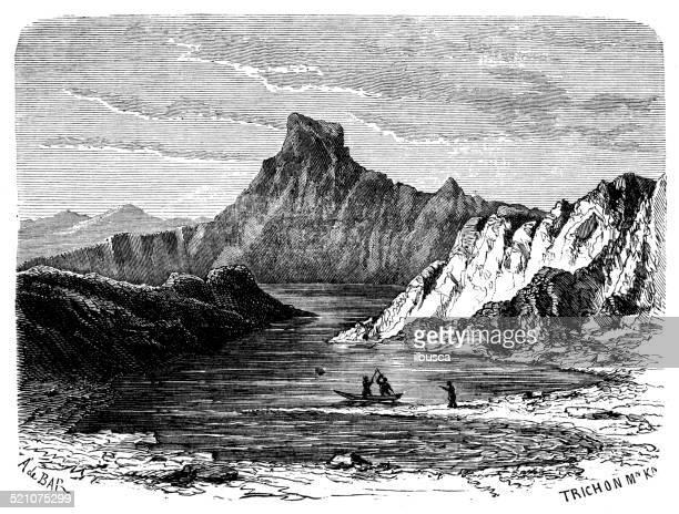 antique illustration of lake baikal - russia stock illustrations