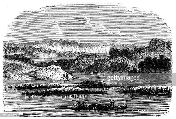 Antique illustration of Lauricocha lake (Lawriqucha), Peru