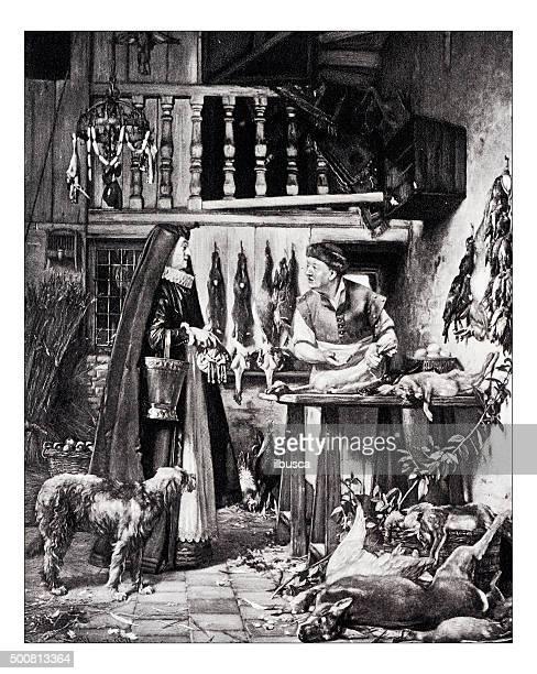 illustrations, cliparts, dessins animés et icônes de ancienne illustration de «le marchand de volailles» par willems - boucherie