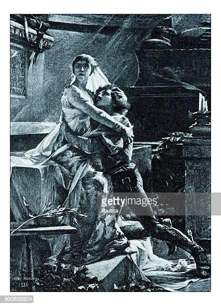 """antique illustration of """"le reveil de juliette"""" by maignan - romeo stock illustrations"""