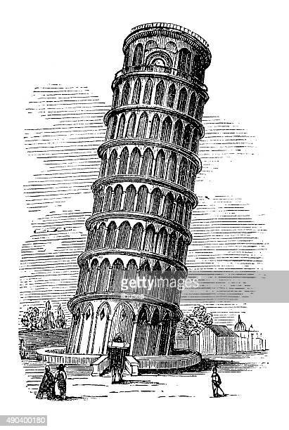 antique illustration of leaning tower of pisa - leaning tower of pisa stock illustrations, clip art, cartoons, & icons