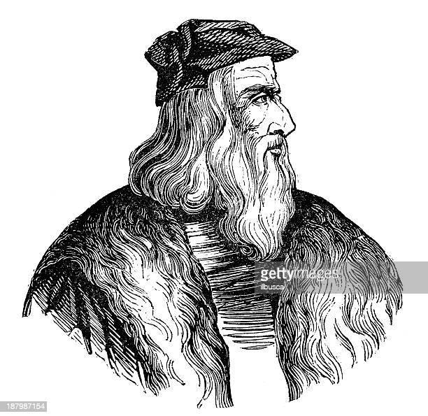 Antique illustration of Leonardo da Vinci