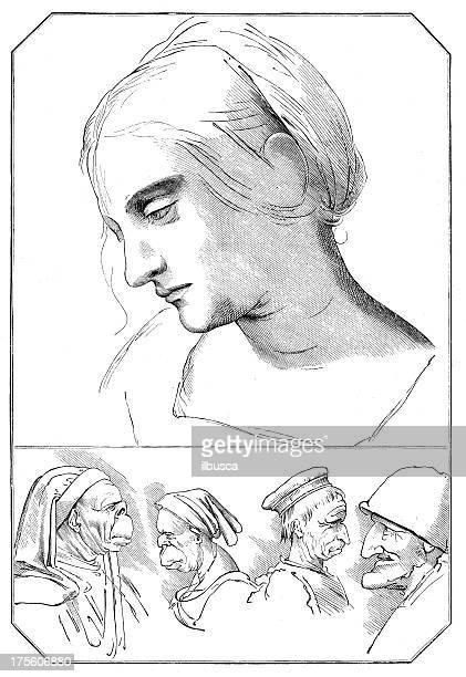 ilustraciones, imágenes clip art, dibujos animados e iconos de stock de anticuario ilustración de leonardo da vinci bocetos - leonardo da vinci