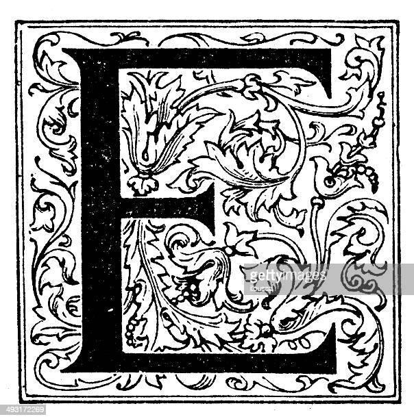 ilustraciones, imágenes clip art, dibujos animados e iconos de stock de anticuario ilustración de letra e - letrae