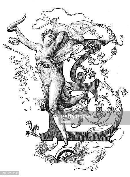 ilustraciones, imágenes clip art, dibujos animados e iconos de stock de anticuario ilustración de letra e con diosa de la fortuna - mujer desnuda