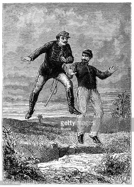 antique illustration of levitating soldiers - magic trick stock illustrations, clip art, cartoons, & icons