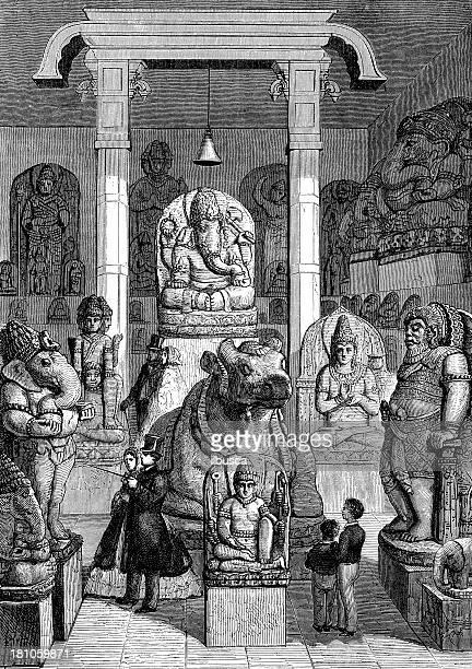 antique illustration of leyde museum asian monument room - hinauf bewegen stock illustrations