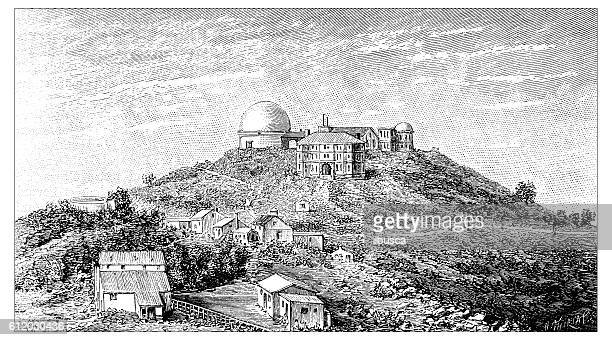 Antique illustration of Lick Observatory, Mount Hamilton, California