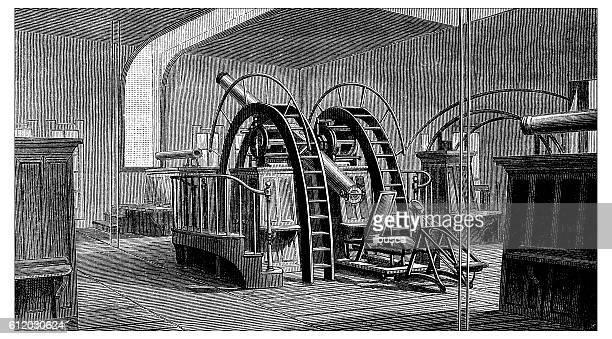 Antique illustration of Lick Observatory telescope, Mount Hamilton, California