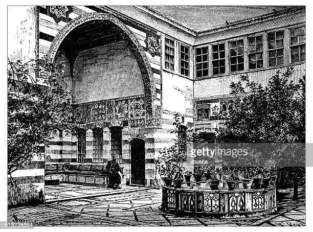 antique illustration of liwan of a house in damascus (syria) - damascus stock illustrations