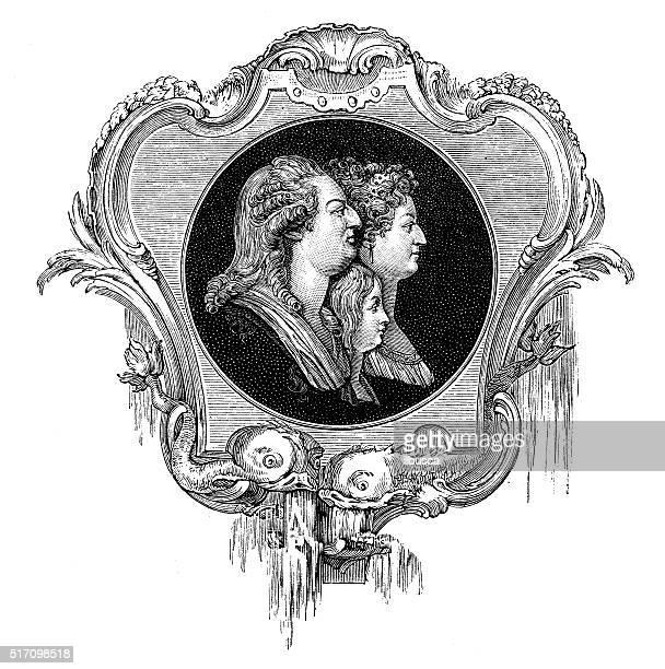 Antique illustration of Louis XV, Marie Antoinette