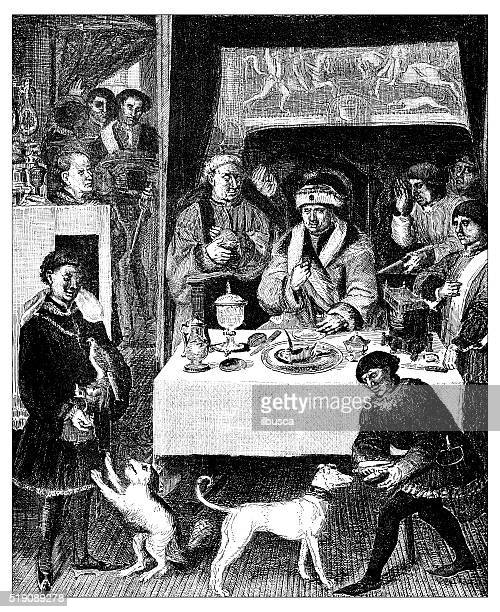 antique illustration of lunch of a 16th century flemish gentleman - dog eating stock illustrations, clip art, cartoons, & icons