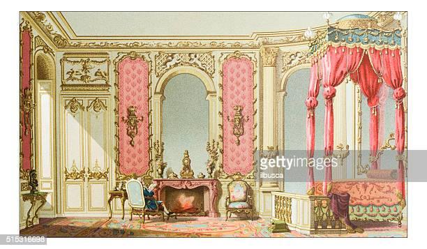 ilustraciones, imágenes clip art, dibujos animados e iconos de stock de anticuario ilustración de lujo de un dormitorio - habitación